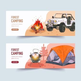 Banner de camping con fogata, ilustraciones de carros y carpas