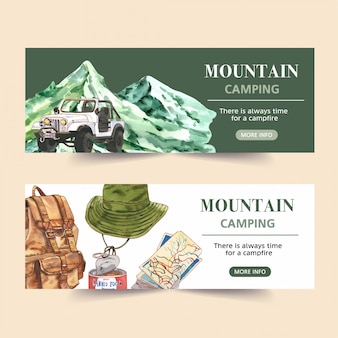 Banner de camping con furgoneta, montaña, mochila e ilustraciones de mapas