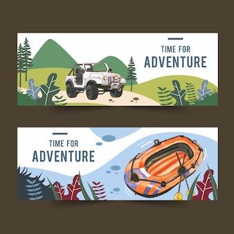 Banner de camping con ilustraciones de automóviles y barcos