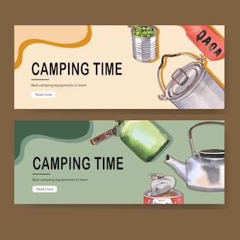 Banner de camping con ilustraciones de caldera, comida, matraz y maceta