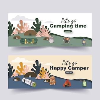 Banner de camping con ilustraciones de linterna, mochila y carpa