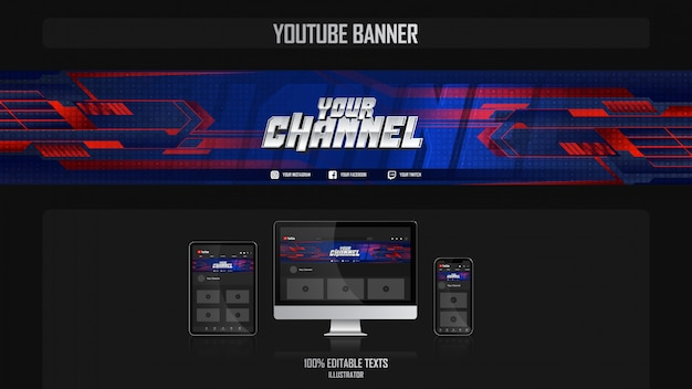 Banner para canal de redes sociales con concepto deportivo