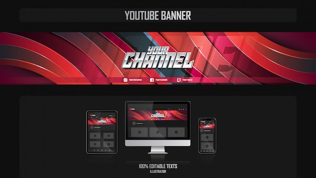 Banner para canal de redes sociales con concepto de jugador