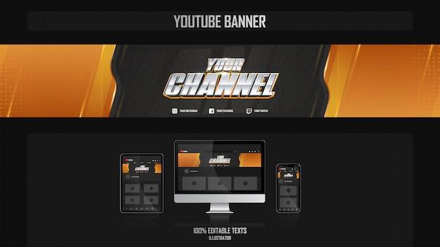 Banner para canal de youtube con concepto fitness
