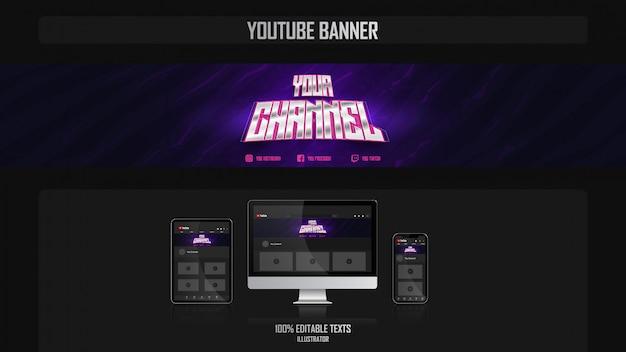 Banner para canal de youtube con concepto de jugador