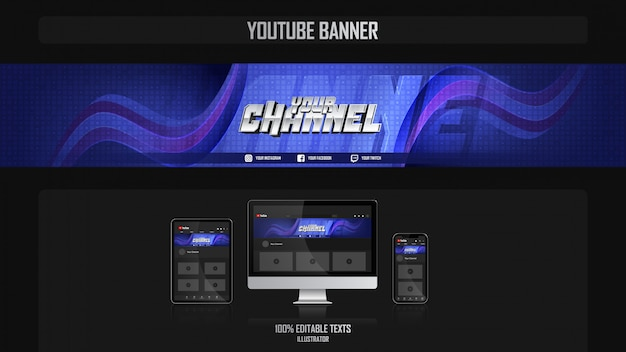 Banner para canal de youtube con concepto saludable