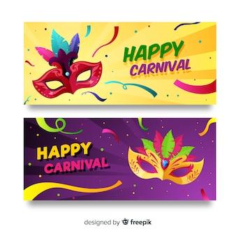 Banner de carnavales en diseño plano