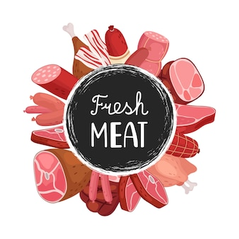 Banner de carne fresca. dibujos animados de salchichas, carne, pollo. insignia de comida del mercado agrícola