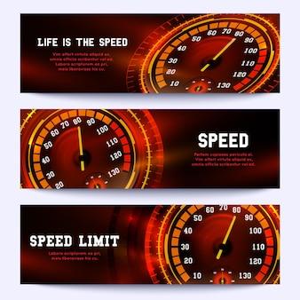 Banner de carreras de automóviles con velocímetro de coche.