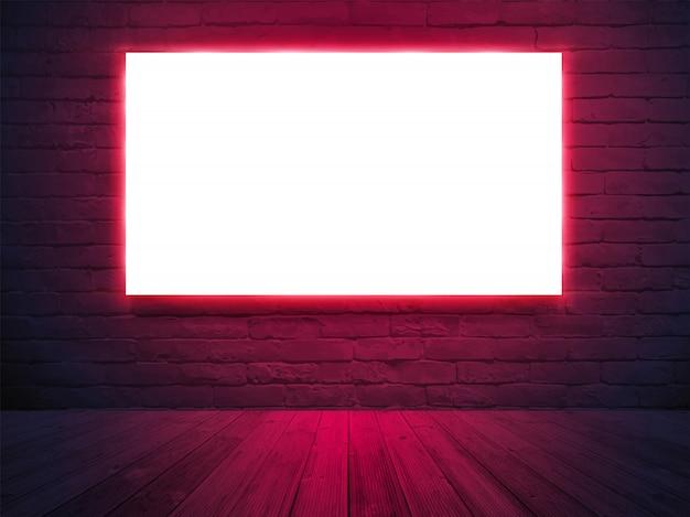 Banner de cartel de pantalla de caja de luz iluminada con pared de ladrillo