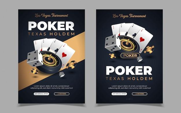 Banner de casino con fichas y tarjetas de casino. poker club texas holdem.
