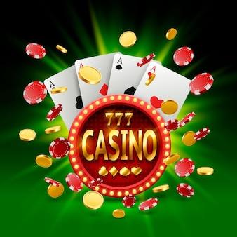 Banner de casino en un marco sobre un fondo brillante luminoso. ilustración vectorial