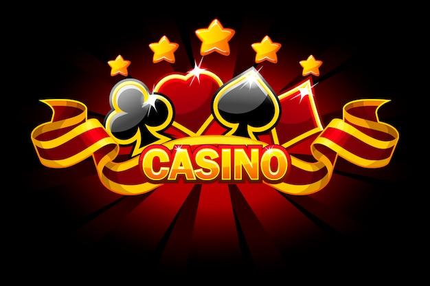 Banner de casino con símbolos de naipes y cinta roja.