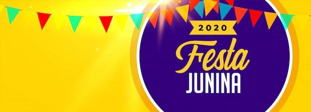 Banner de celebración 2020 festa junina con espacio de texto