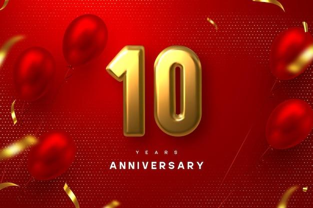 Banner de celebración de aniversario de 10 años. 3d metálico dorado número 10 y globos brillantes con confeti sobre fondo rojo manchado.