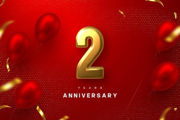 Banner de celebración de aniversario de 2 años. 3d metálico dorado número 2 y globos brillantes con confeti sobre fondo rojo manchado.