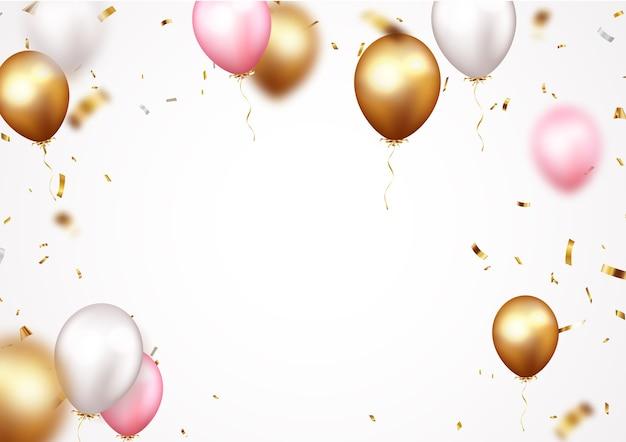 Banner de celebración con confeti dorado y globos.
