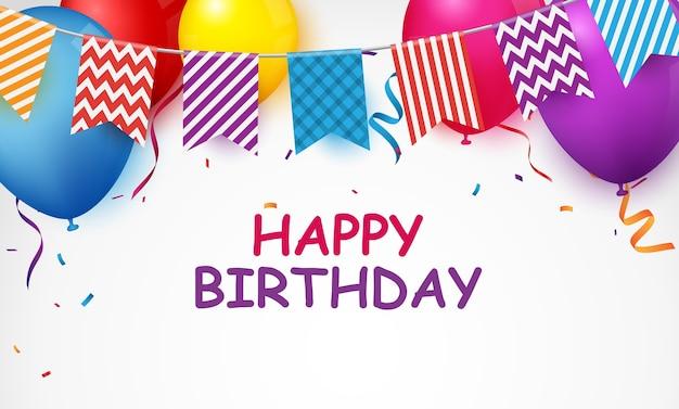 Banner de celebración de cumpleaños con globos de colores y confeti