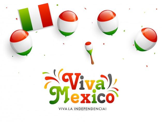 Banner de celebración del día independiente de viva méxico