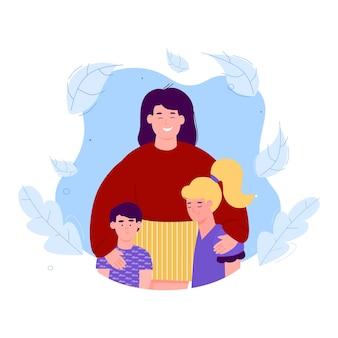 Banner para celebración del día de la madre, tarjeta de cumpleaños o seguro familiar con madre e hijos