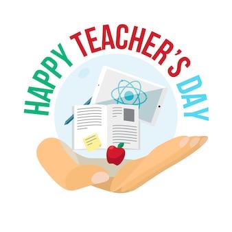 Banner de celebración del día del maestro feliz con texto. vector