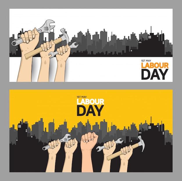 Banner de celebración del día del trabajo