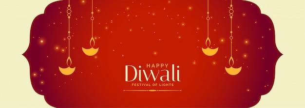 Banner de celebración diwali feliz indio rojo encantador