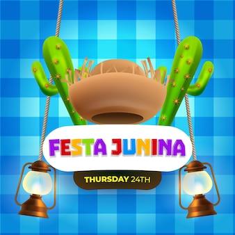 Banner de celebración de eventos festa junina