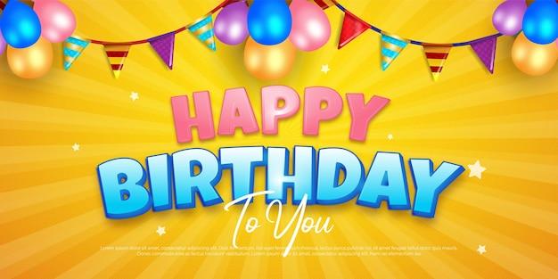 Banner de celebración de feliz cumpleaños con decoración de fiesta