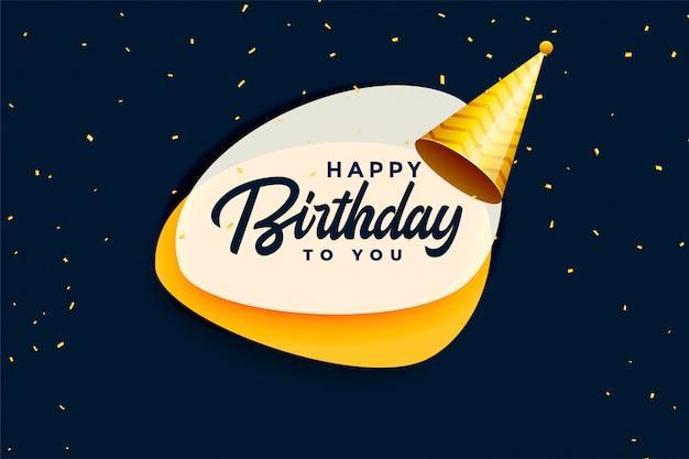 Banner de celebración de feliz cumpleaños con gorra realista