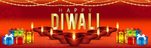 Banner de celebración de feliz diwali con diwali diya