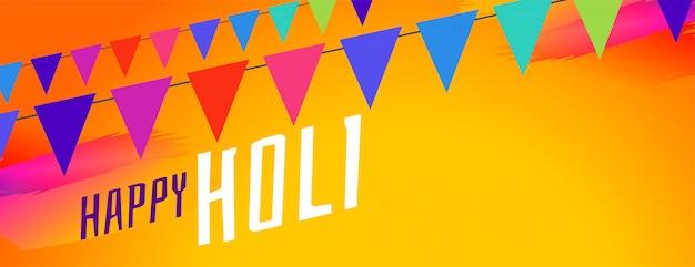 Banner de celebración feliz holi coloridas guirnaldas