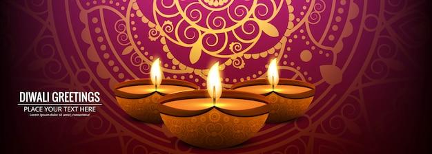 Banner de celebración para el festival de diwali colorido