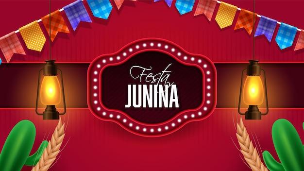 Banner de celebración para el festival festa junina.