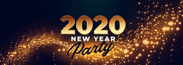 Banner de celebración de fiesta de feliz año nuevo 2020