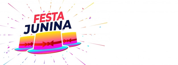 Banner de celebración de fiesta junina con sombrero colorido.