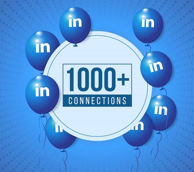Banner de celebración de fiestas de globos de linkedin y publicación de papel tapiz para redes sociales