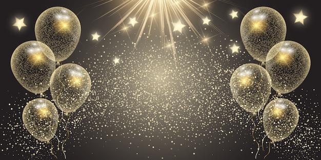 Banner de celebración con globos dorados y estrellas