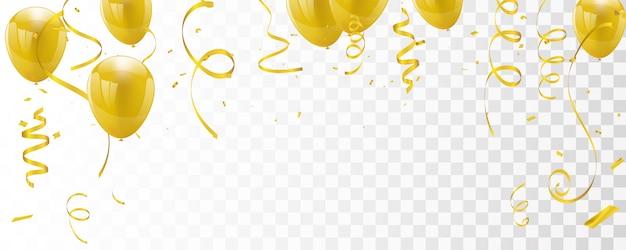 Banner de celebración con globos dorados
