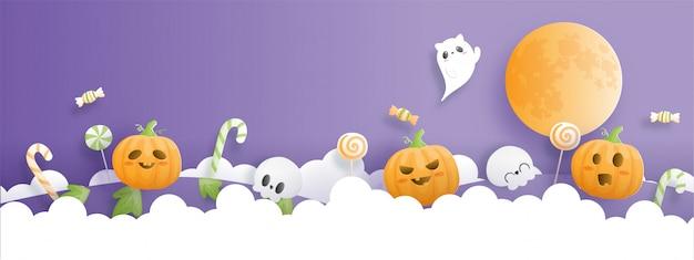 Banner de celebración de halloween con calabaza y fantasma.