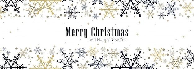 Banner de celebración hermosa tarjeta de copo de nieve de navidad