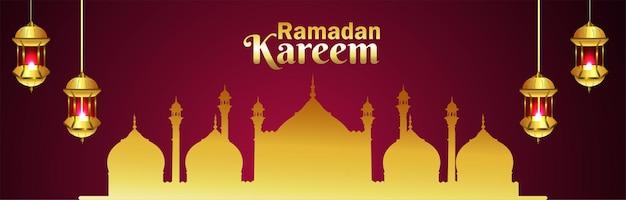 Banner de celebración de ramadán kareem con mezquita