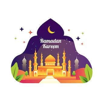 Banner de celebración de ramadán kareem