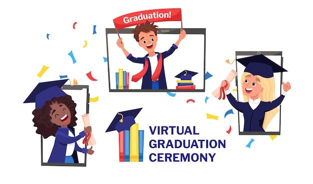Banner de ceremonia de graduación virtual. videollamada online con todos los graduados en birretes y bata con confeti
