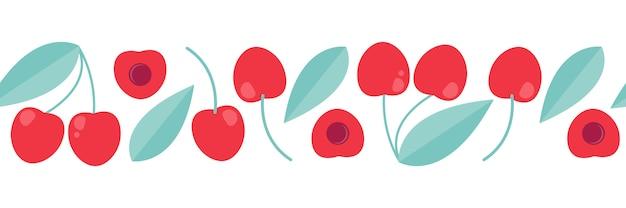 Banner de cereza para imprimir. ornamento decorativo del vector en estilo plano.
