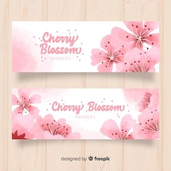 Banner cerezo florecido dibujado a mano