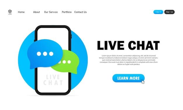 Banner de chat en vivo o icono de mensaje en diseño plano en teléfono inteligente. comunicación. signo de conversación.