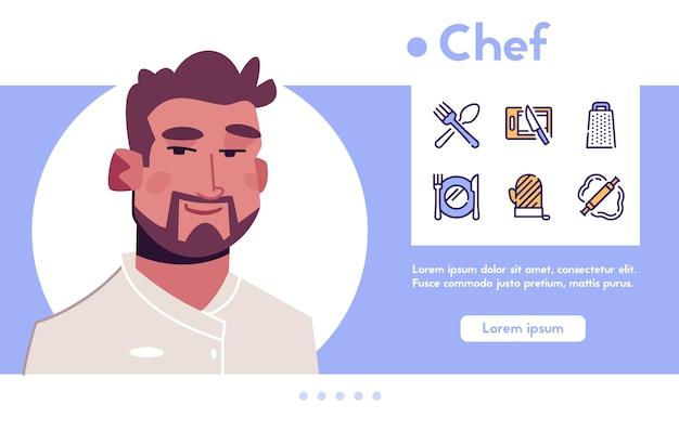 Banner de chef de carácter de hombre. trabajo culinario, comida, cocina y restaurante. conjunto de iconos lineales de color: cuchara, tenedor, cuchillo, plato, tabla de cortar, utensilios, herramientas de cocina, servir