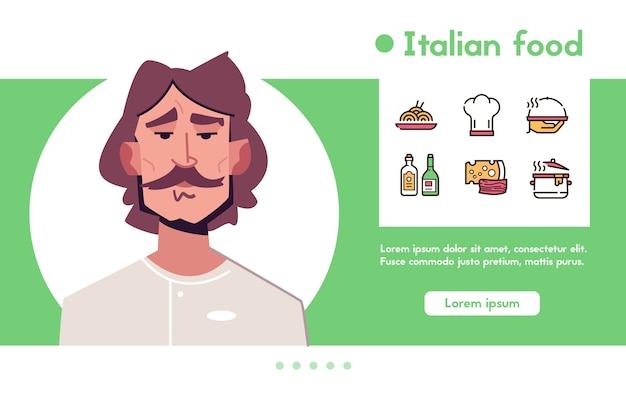 Banner de chef de carácter de hombre. trabajo culinario, comida italiana y restaurante. - pasta, gorro de cocinero, queso, vino, aceite de oliva, plato para cocinar y servir