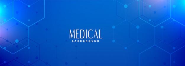 Banner de ciencia médica azul hexagonal digital
